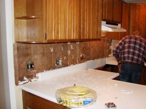 Kitchen Remodel - Old Brick Backsplash Removed