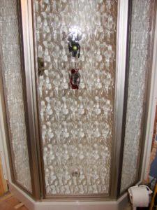 """39"""" Corner Shower - Nickel door with Moraine glass"""