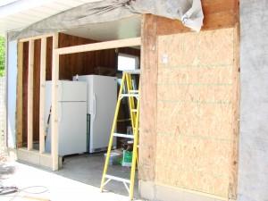 Overhead door removal - framing in a patio door