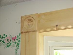 Bow Window Installation - Interior Pine Trim w. Rosette Block Corners