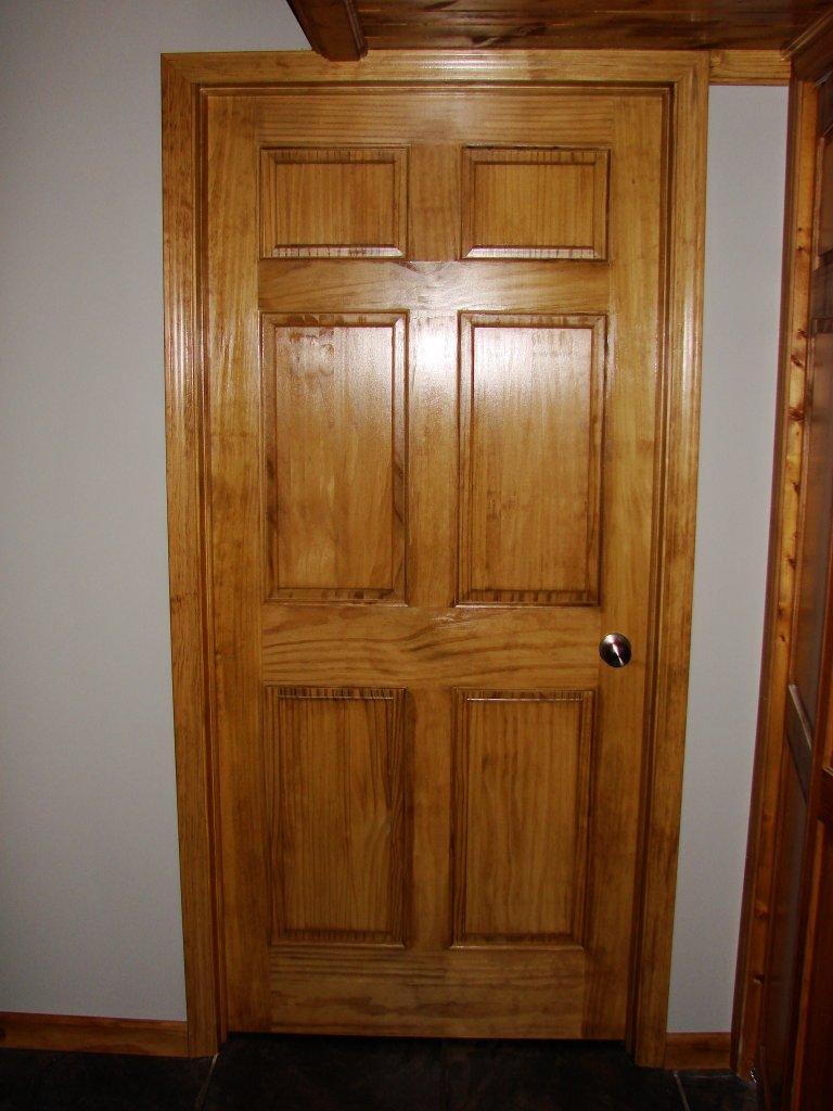 6 Panel Door : Wall construction custom pine trim six panel door