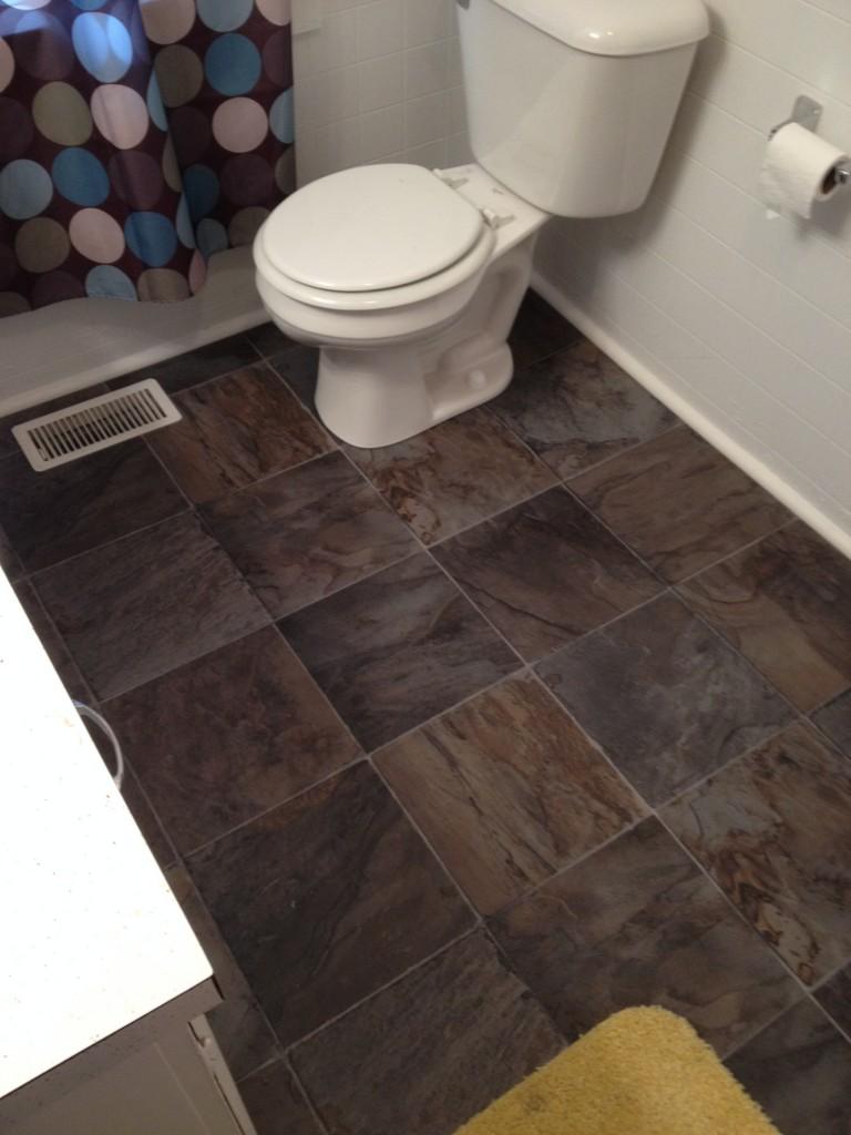 Bathroom toilet subfloor repair new glueless flooring for Glueless flooring