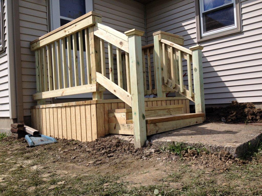 6 x 6 Treated Wood Deck Construction - Hicksville, Ohio