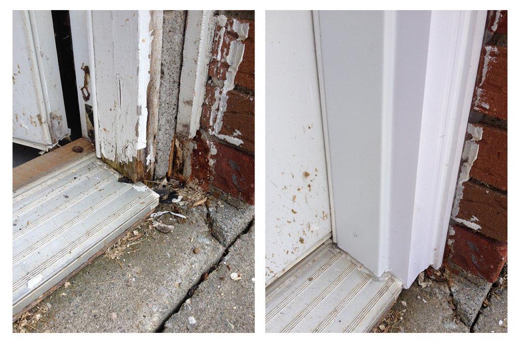 for this door trim this homeowner was sick of painting the door jam