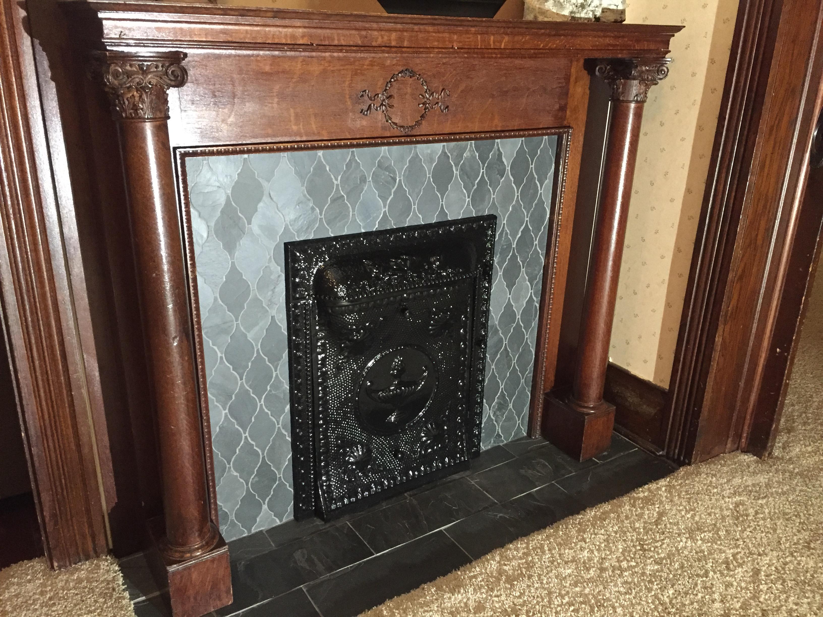Victorian Fireplace Refurbish – Slate Mosaic Tile – Hicksville, Ohio