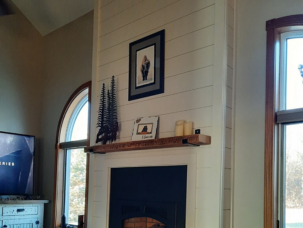 Fireplace Refurbish – Pine Shiplap Planks – Ney, Ohio