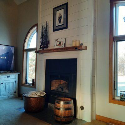 Fireplace Refurbish – Pine Shiplap Planks – Ney, Ohio