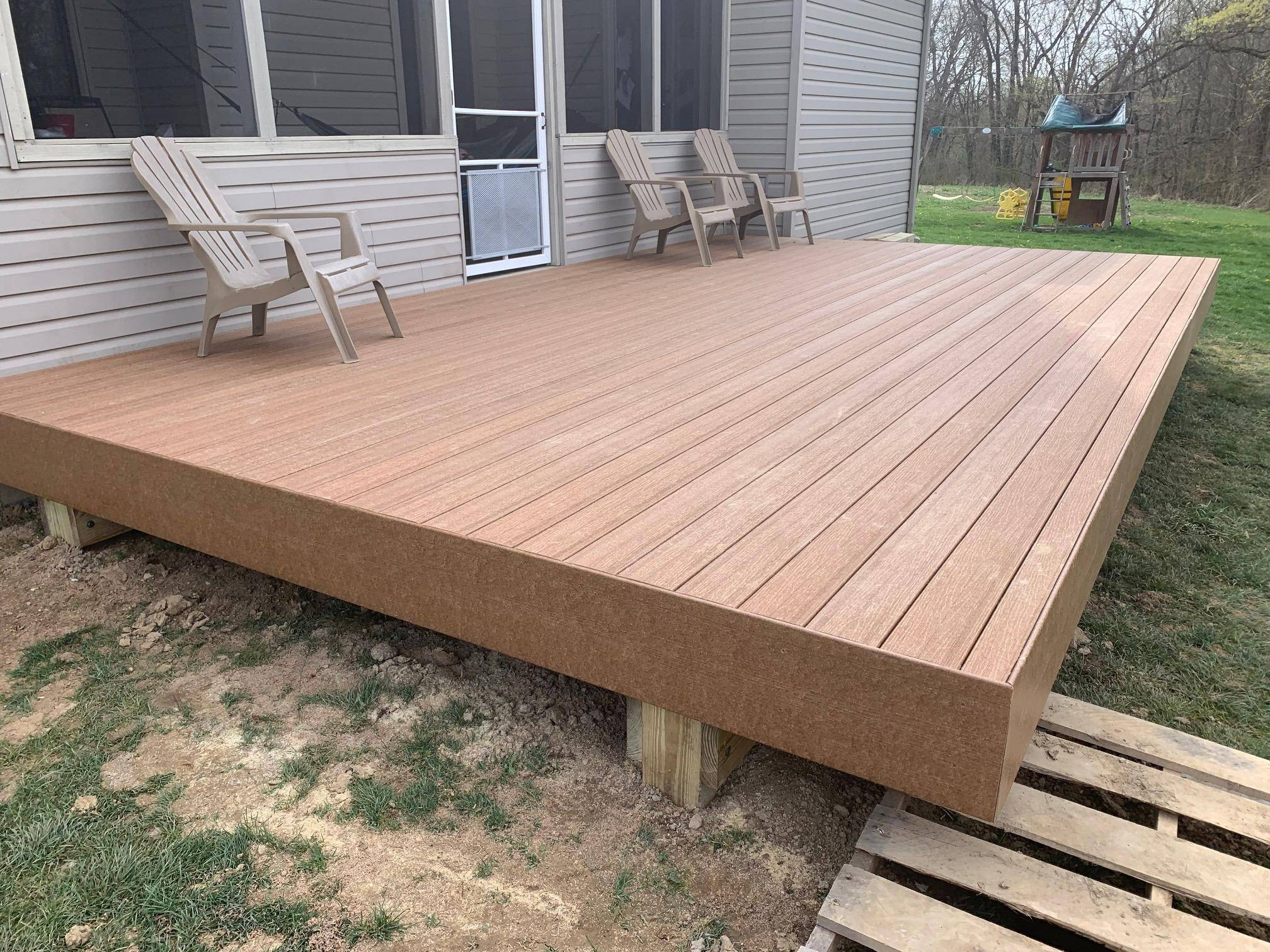 12 x 20 Composite Deck Construction – UltraDeck Rustic Cedar – Edgerton, Ohio